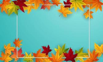 azul publicado con borde y marco de hojas otoñales vector