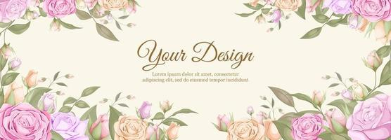 Wedding banner with watercolor rose borders vector