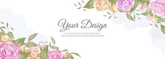 Watercolor rose wedding banner