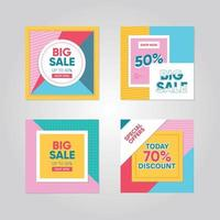 Colorful graphic social media post set