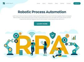 Robotic process automation technology landing page vector