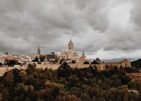 Segovia Cathedral under cloudy sky