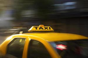 Panning photo of yellow taxi