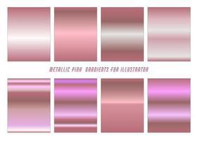 conjunto gradiente rosa metálico vetor