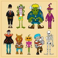 Halloween monster collection vector