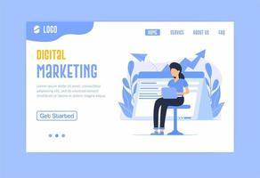 página de inicio de marketing digital en azul vector
