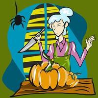 mujer cortando pumpking para halloween