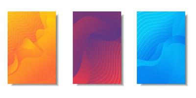 Colorful abstract wave lines card set  vector