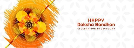 hindú raksha bandhan en diseño de pintura de flor de naranja vector