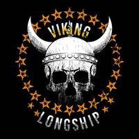 cráneo vikingo con círculo de estrellas vector