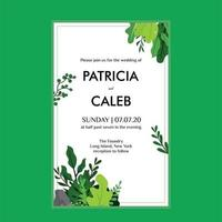 Save the date card with green leaves