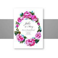 Wedding invitation decorative flowers circular frame card  vector
