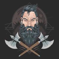 hombres de barba guerrera vector