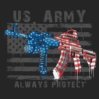 AK47 machine guns colored American flags vector