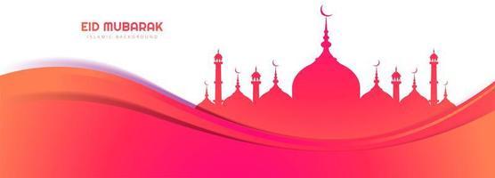 Beautiful card with wave eid mubarak banner background vector