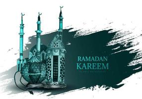 Happy Ramadan Kareem Hand Drawn Card Background vector