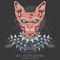 Egyptian cat in iron armor vector