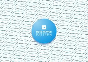 Abstract blue dots waves pattern  vector