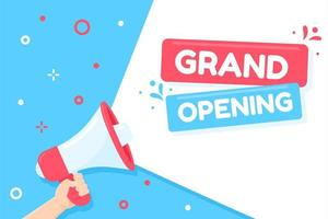 Megaphone shouting Grand Opening. vector