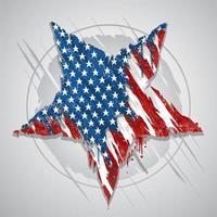 estrella con el color de la bandera americana vector