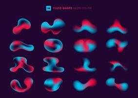 Set of modern abstract gradient fluid shapes
