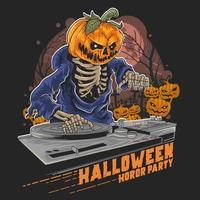 DJ Pumpkin Halloween  vector