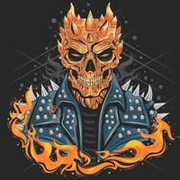 Skull with fire  vector