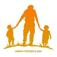 Happy Father's Day with Dad and Children Silhouette vector