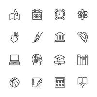 School and learning line icon set vector