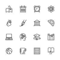 conjunto de iconos de línea escolar y de aprendizaje vector