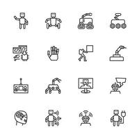 Robot, artificial intelligence, automation line icon set. vector