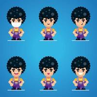 Curly character collection vector