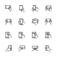 conjunto de ícones de linha de instrução de tela sensível ao toque de telefone inteligente.