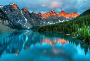Moraine Lake at sunset photo