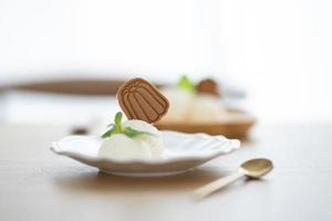 Ice cream with cookie on plate