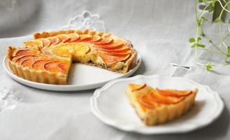 Slice of tart on plate