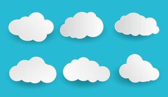 conjunto de nubes de estilo de papel vector