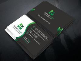 cartão cinza e branco escuro com detalhes em verde