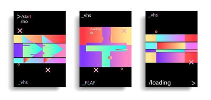 conjunto de banner vhs retro cintilante holográfico vetor