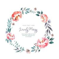 Lovely Watercolor Peony Wreath