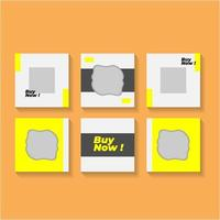 Yellow and gray caousel social media post templates vector
