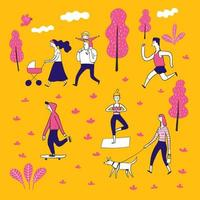 Hand drawn people in the park vector