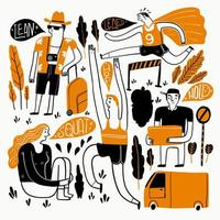 Various people performing different actions vector