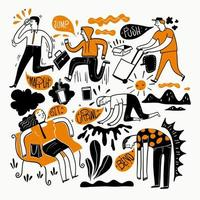 diseño dibujado a mano con personas que realizan diferentes acciones vector