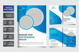 Blue and white business bi-fold template