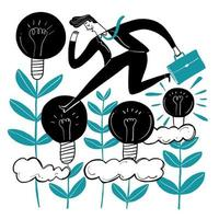Business man running across lamp plants
