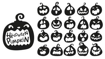 Jack-o-lantern silhouette set