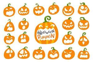 Orange Halloween pumpkin set vector