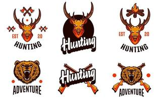 set di loghi di caccia al cervo