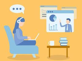 mujer sentada en el sofá aprendiendo a través del curso en línea vector